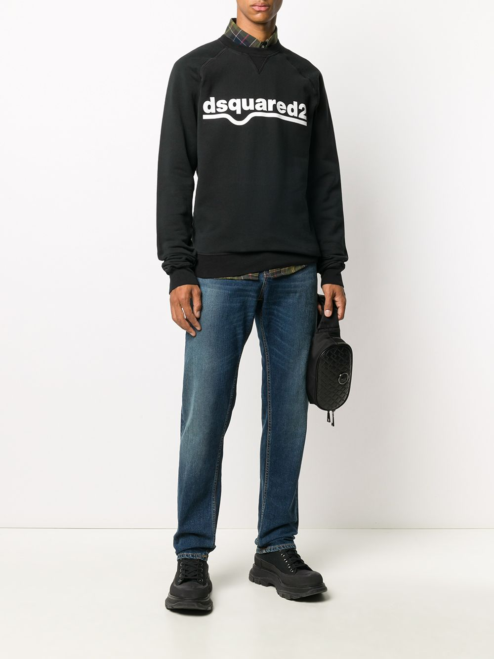 DSQUARED2 Logo Cotton Sweatshirt Black