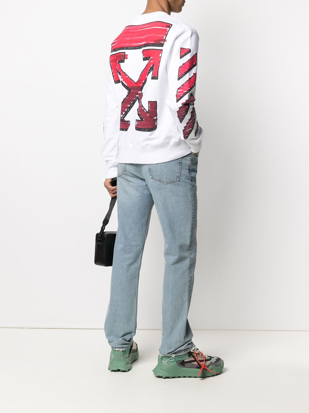 OFF-WHITE Marker Slim Sweatshirt White/Red