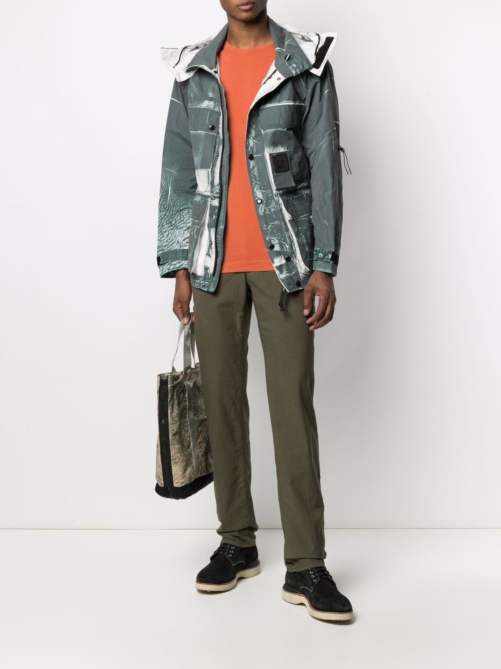 C.P. COMPANY Distressed-effect hooded jacket Green