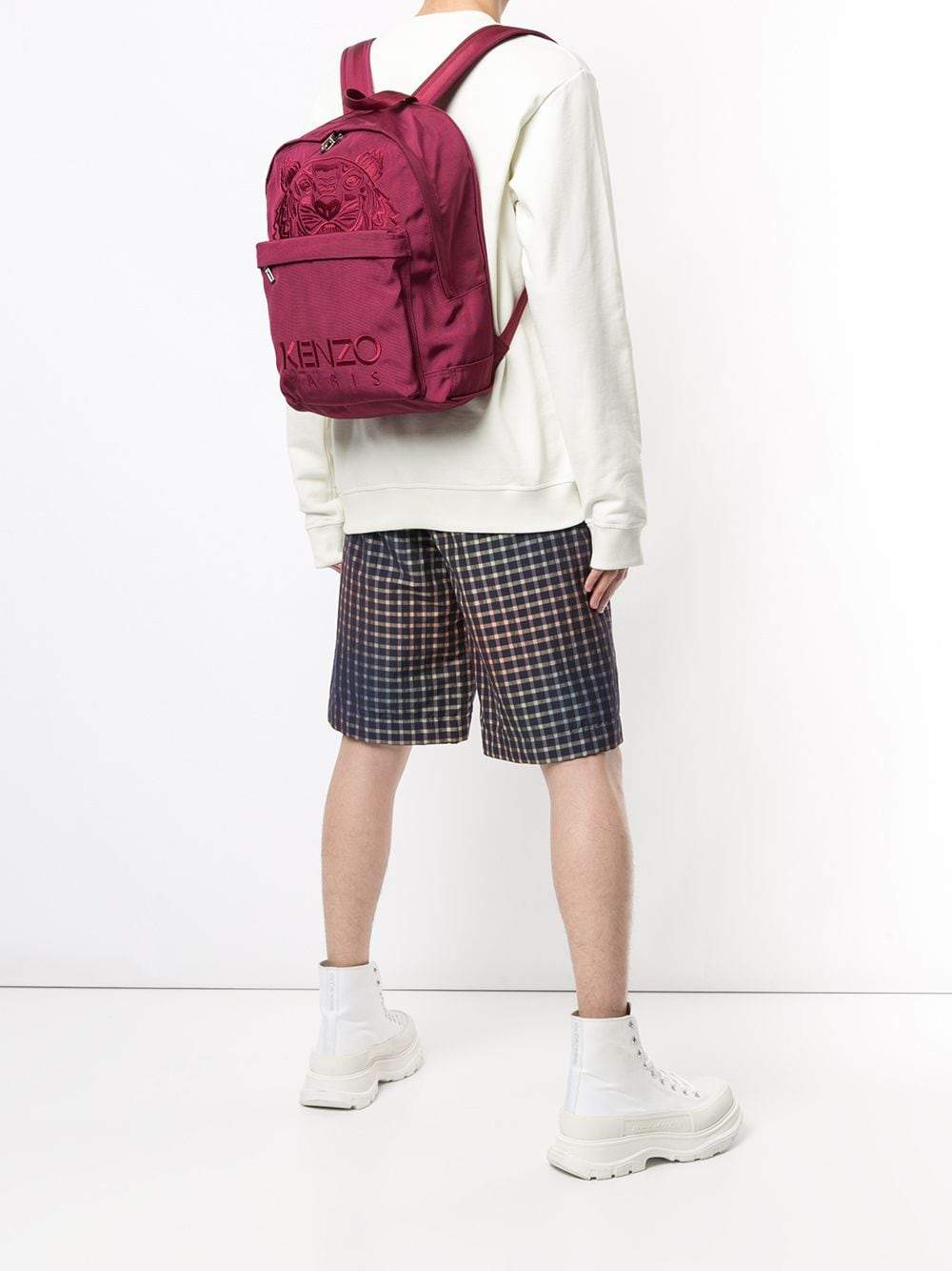 Kenzo Canvas Tiger Embroidered Backpack Red