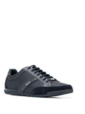BOSS textured black saturn low sneakers - Maison De Fashion
