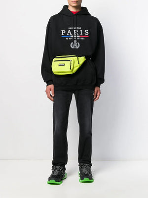 Balenciaga Paris Flag embroidered logo hooded sweater black - Maison De Fashion