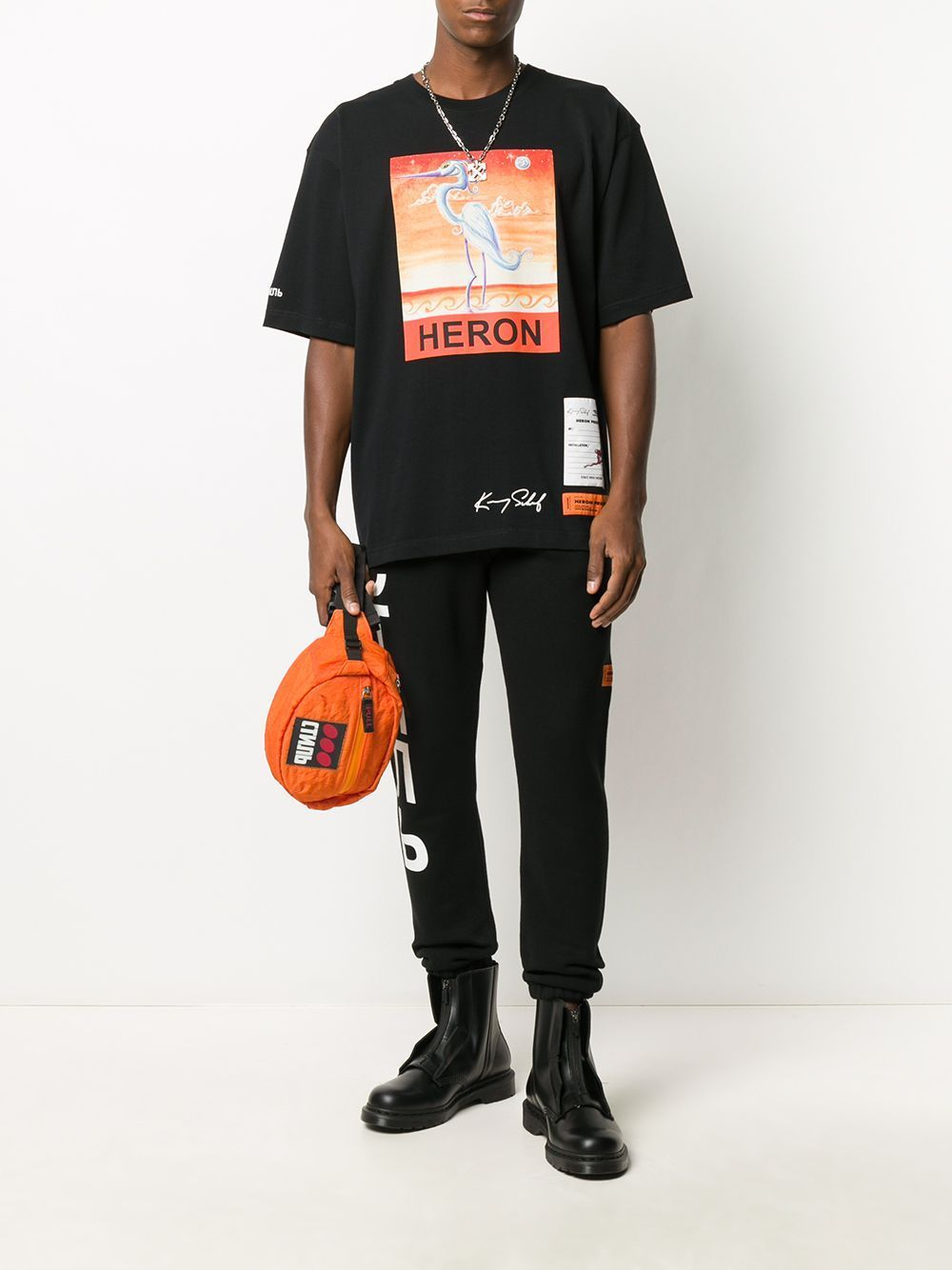 HERON PRESTON Swan Print T-shirt Black
