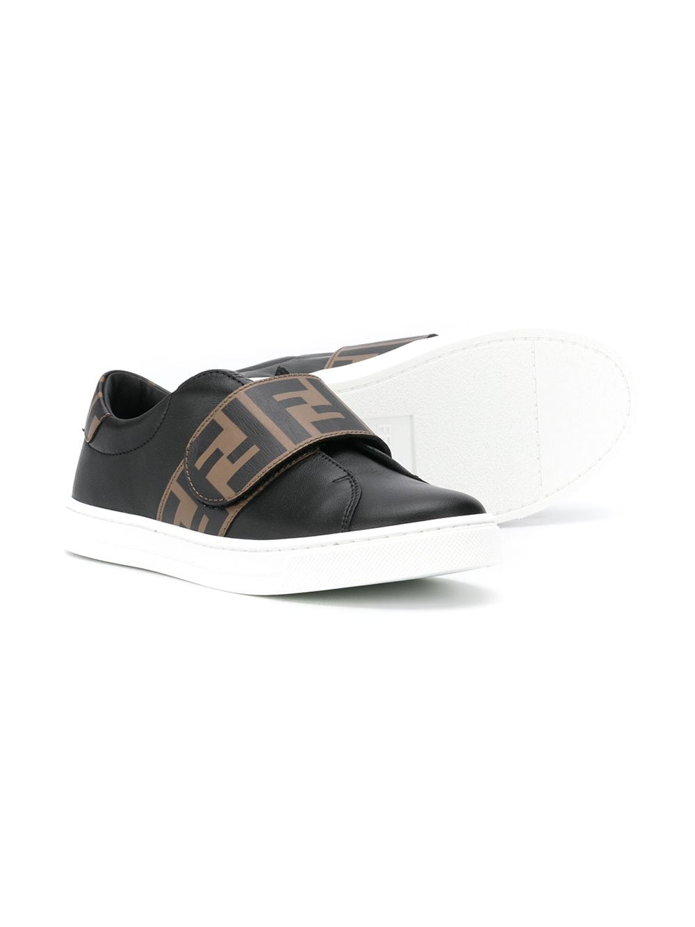 FENDI KIDS FF Logo Strap Sneakers Black - Maison De Fashion