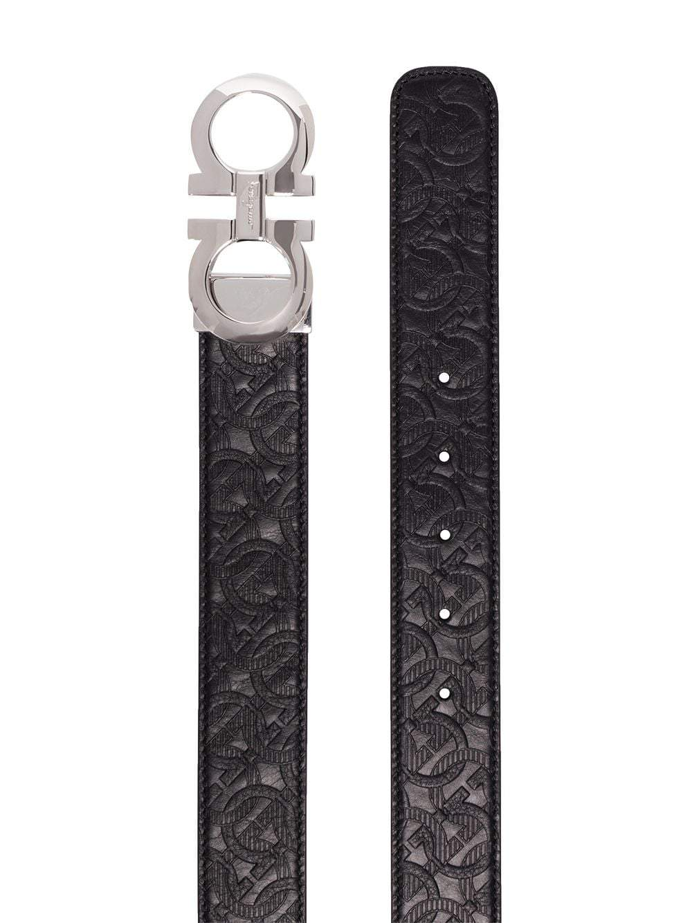 SALVATORE FERRAGAMO Gancini Reversible Embossed Belt Black