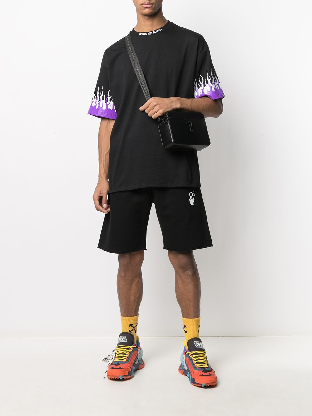 OFF-WHITE Marker Print Shorts Black/Fuchsia