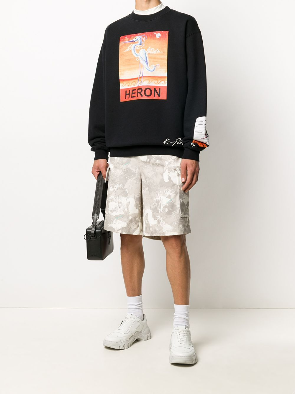 HERON PRESTON Swan Print Sweatshirt Black - Maison De Fashion
