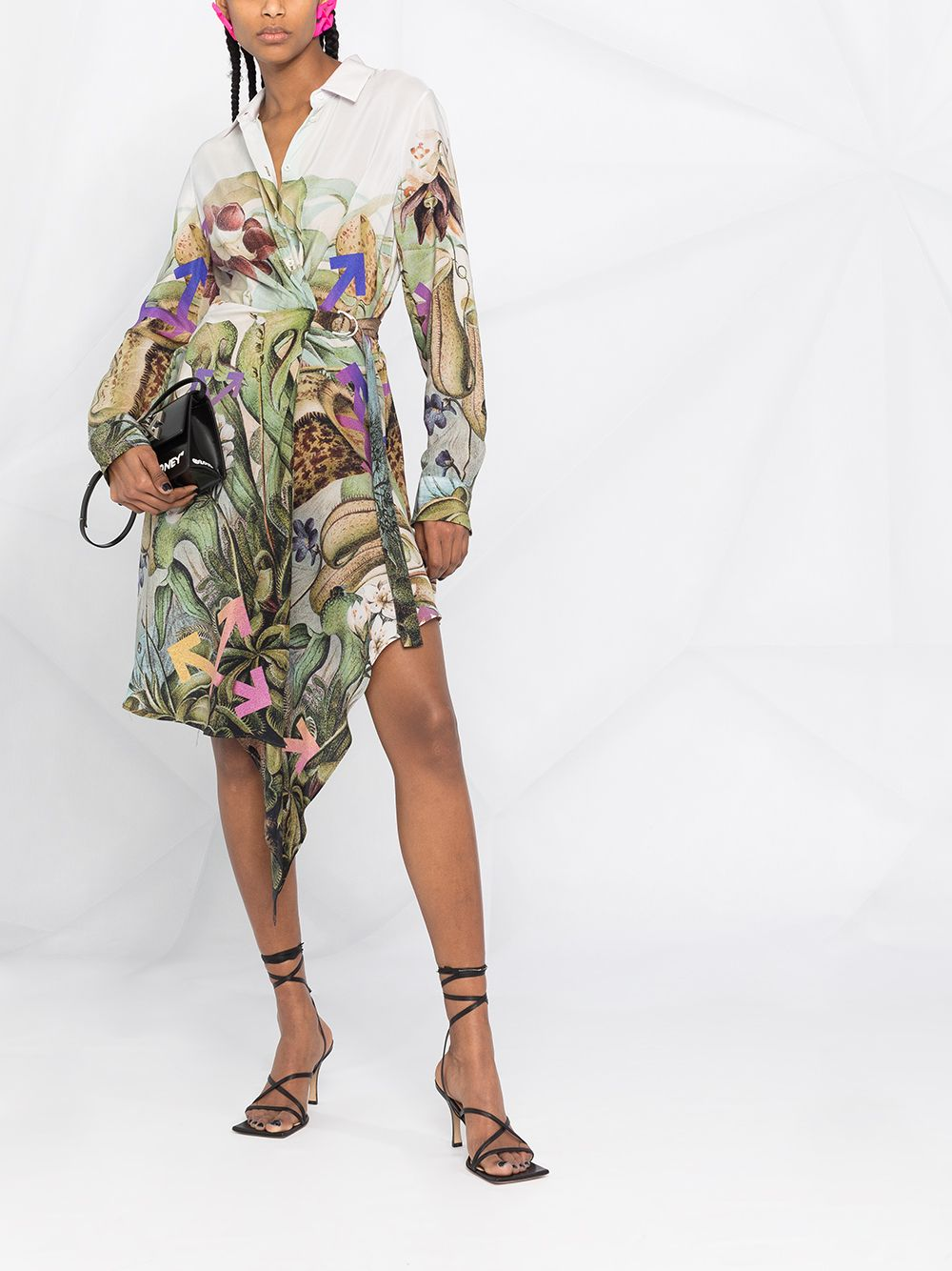 OFF-WHITE WOMEN Botanical Print Shirt Dress White