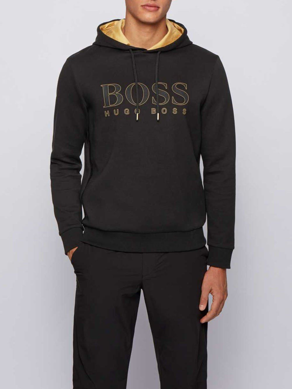 BOSS Logo Sweatshirt with Gold Lining Black