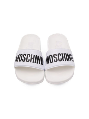 Moschino Kids Logo Sliders White