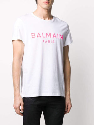 BALMAIN gel logo t-shirt white/pink - Maison De Fashion