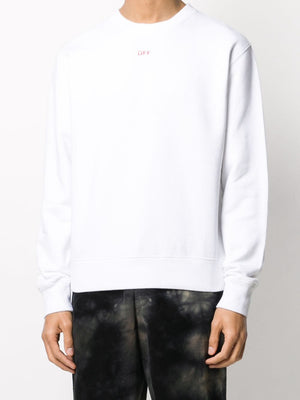 OFF-WHITE stencil slim crew neck sweatshirt white