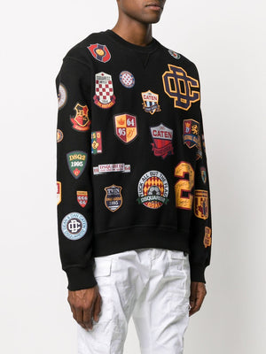 DSQUARED2 Multi Patch Sweatshirt Black - Maison De Fashion