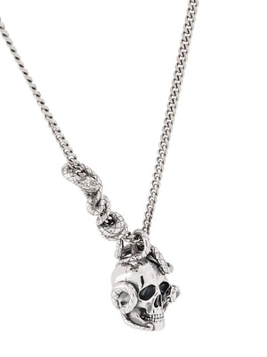 Alexander McQueen skull and snake necklace silver - Maison De Fashion