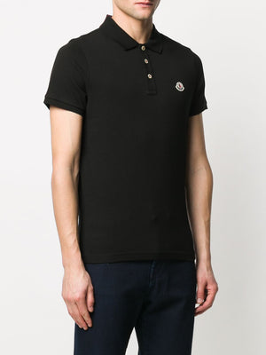 MONCLER logo patch polo shirt black