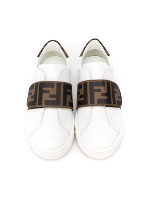 FENDI KIDS FF logo strap sneakers white - Maison De Fashion