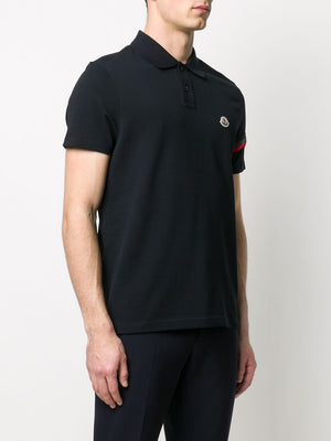 MONCLER polo shirt with reflective detail navy