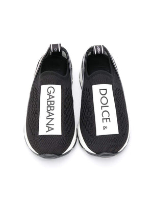 DOLCE & GABBANA KIDS BABY Slip On Logo Sneakers Black