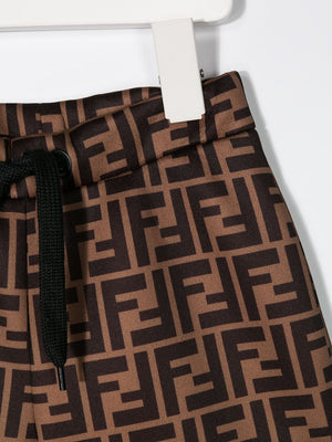 FENDI KIDS FF print track shorts brown/black