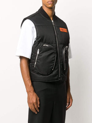 HERON PRESTON Multi Pocket Padded Gilet Black