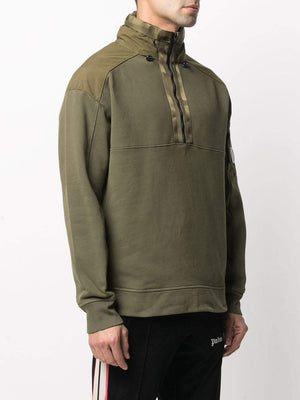 C.P COMPANY Half Zipped Hooded Sweatshirt Green - Maison De Fashion