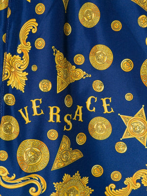 VERSACE KIDS Logo Print Swimshorts Blue - Maison De Fashion