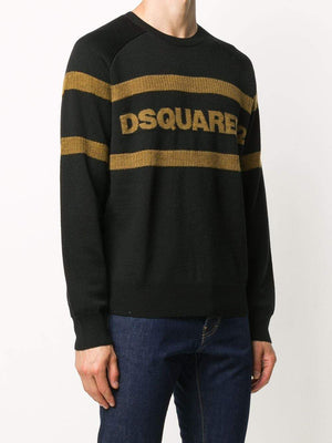 DSQUARED2 Logo Stripe Knit Sweatshirt Black - Maison De Fashion