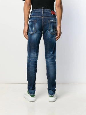 DSQUARED2 logo patch paint splatter jeans - Maison De Fashion