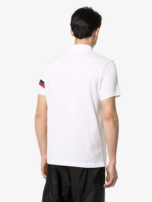 MONCLER polo shirt with reflective detail white