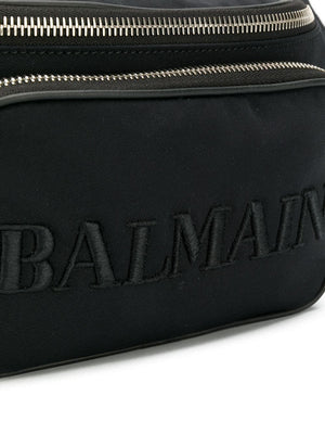 BALMAIN embroidered logo belt bag black - Maison De Fashion
