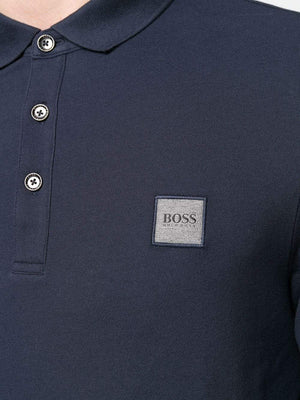 BOSS Logo Patch Shortsleeve Polo Shirt Dark Blue - Maison De Fashion