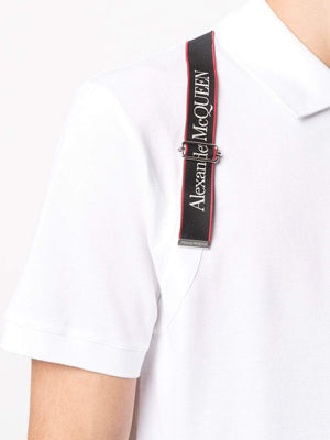 ALEXANDER MCQUEEN Logo Harness Polo Shirt White - Maison De Fashion