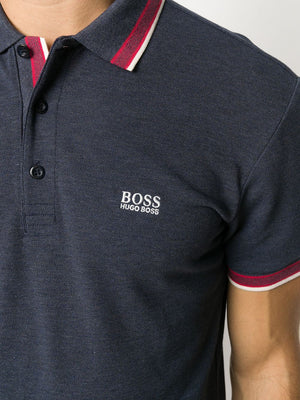 BOSS Logo Polo Shirt Navy/Red