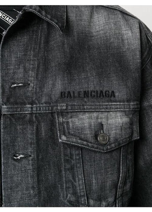 Balenciaga embroidered logo washed denim jacket grey - Maison De Fashion