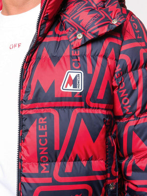 Moncler Frioland Logo Print Padded Jacket Red/Black - Maison De Fashion