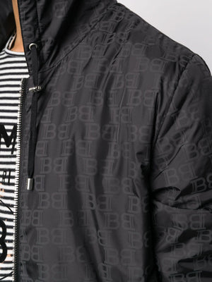 BALMAIN monogram-print hooded jacket black
