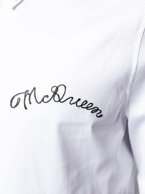 Alexander McQueen logo embroidered shirt white