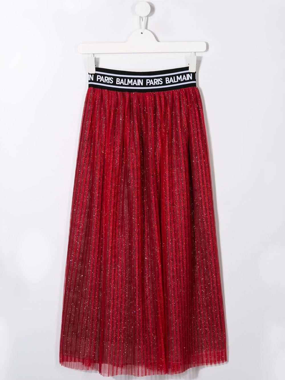 BALMAIN KIDS glitter pleated skirt red - Maison De Fashion