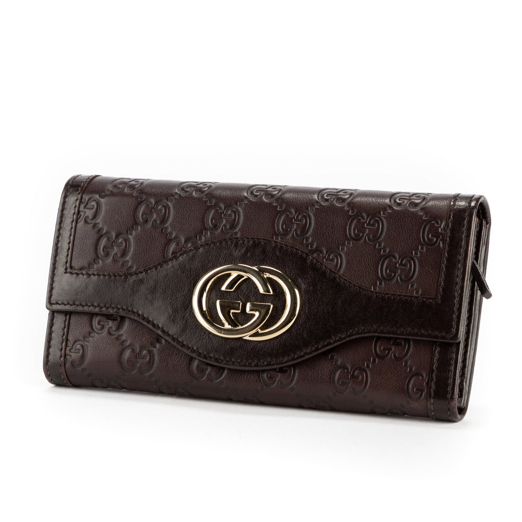 GUCCI Pre-Loved Sukey Continental Wallet Brown
