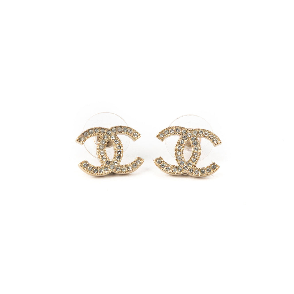 CHANEL Pre-Loved Crystal Earrings Gold