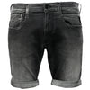 Replay Men's Hyperflex White Weft Edition Denim Stretch Shorts In Grey | Maison De Fashion