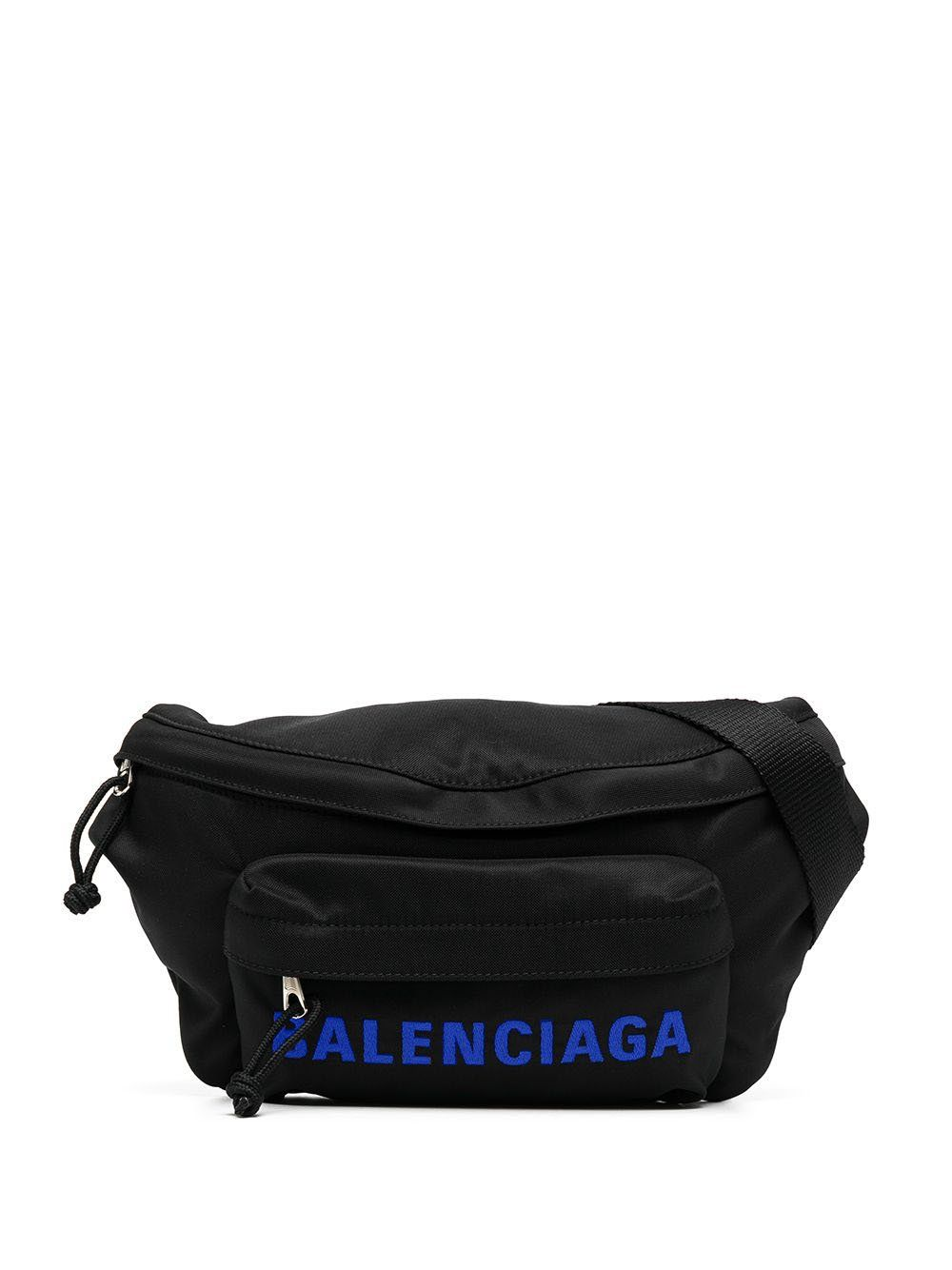 BALENCIAGA Logo Belt Bag Black Blue