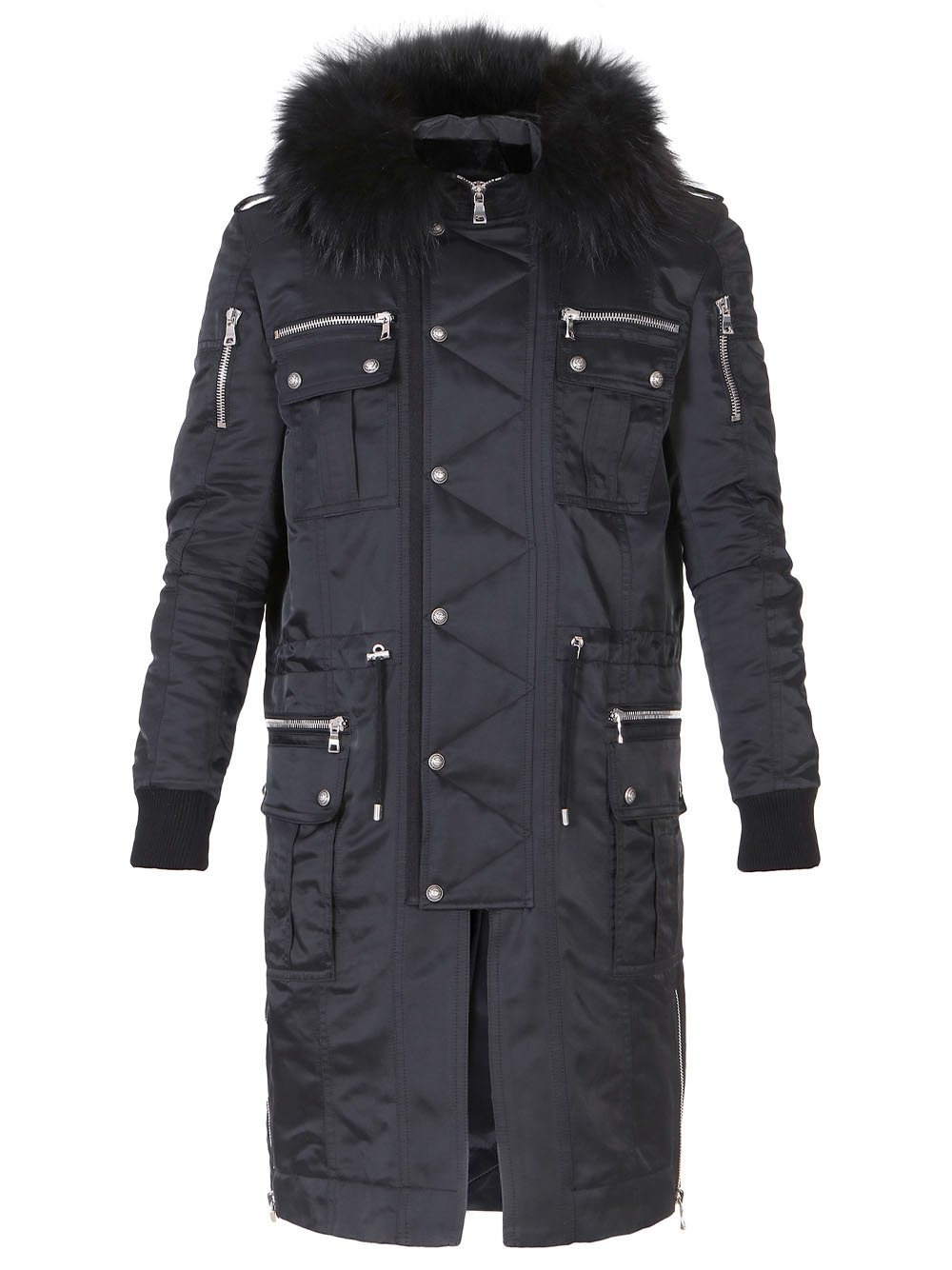 BALMAIN Buttoned Parka Coat With Fur Hood Black