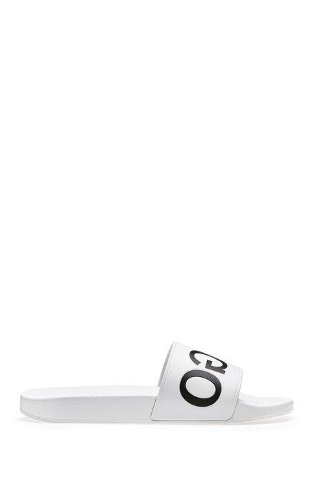 Hugo Reverse-logo pool slider sandals in white | Hugo
