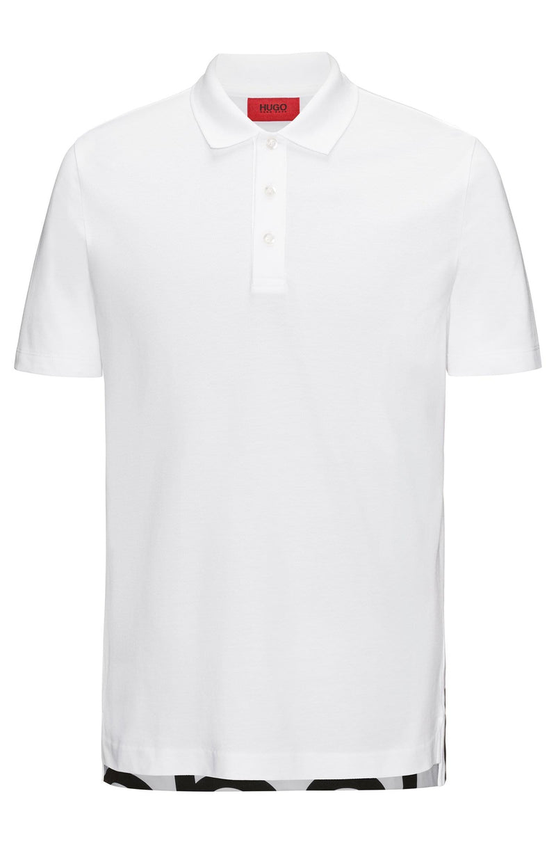 Hugo Darelli Graphic Print Polo Shirt Regular Fit In White - Maison De Fashion