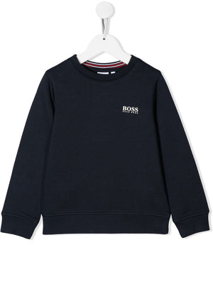 BOSS KIDS Boys Navy Blue Logo Sweater - Maison De Fashion