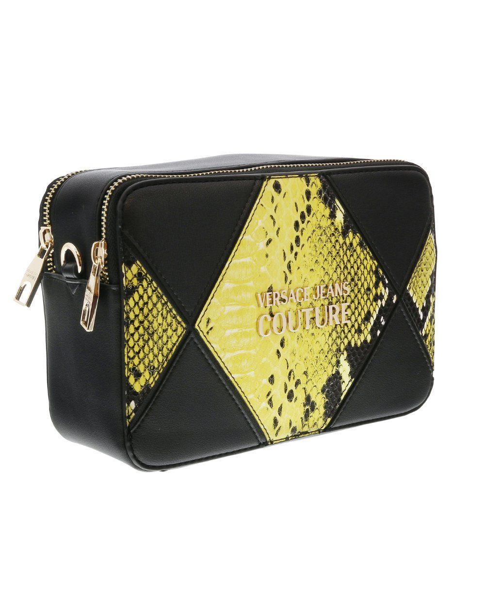 VERSACE JEANS COUTURE Diamond Patch Shoulder bag Black/Yellow