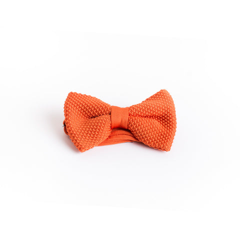 noeud papillon orange flashy ajustable prénoué en maille tressée
