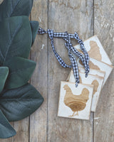 Chicken Silhouette Ornament with Buffalo Check Ribbon