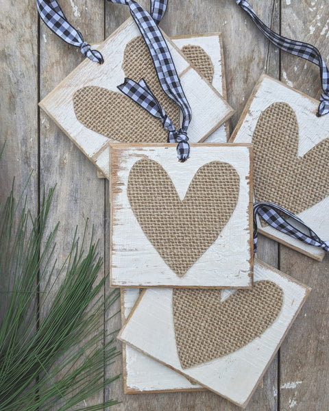 Burlap Heart Christmas Ornament with Buffalo Check Ribbon